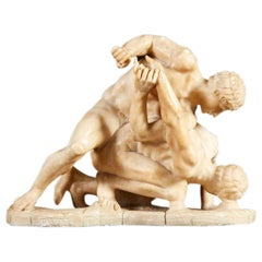 19th Century Alabaster Sculpture After 'the Wrestlers'