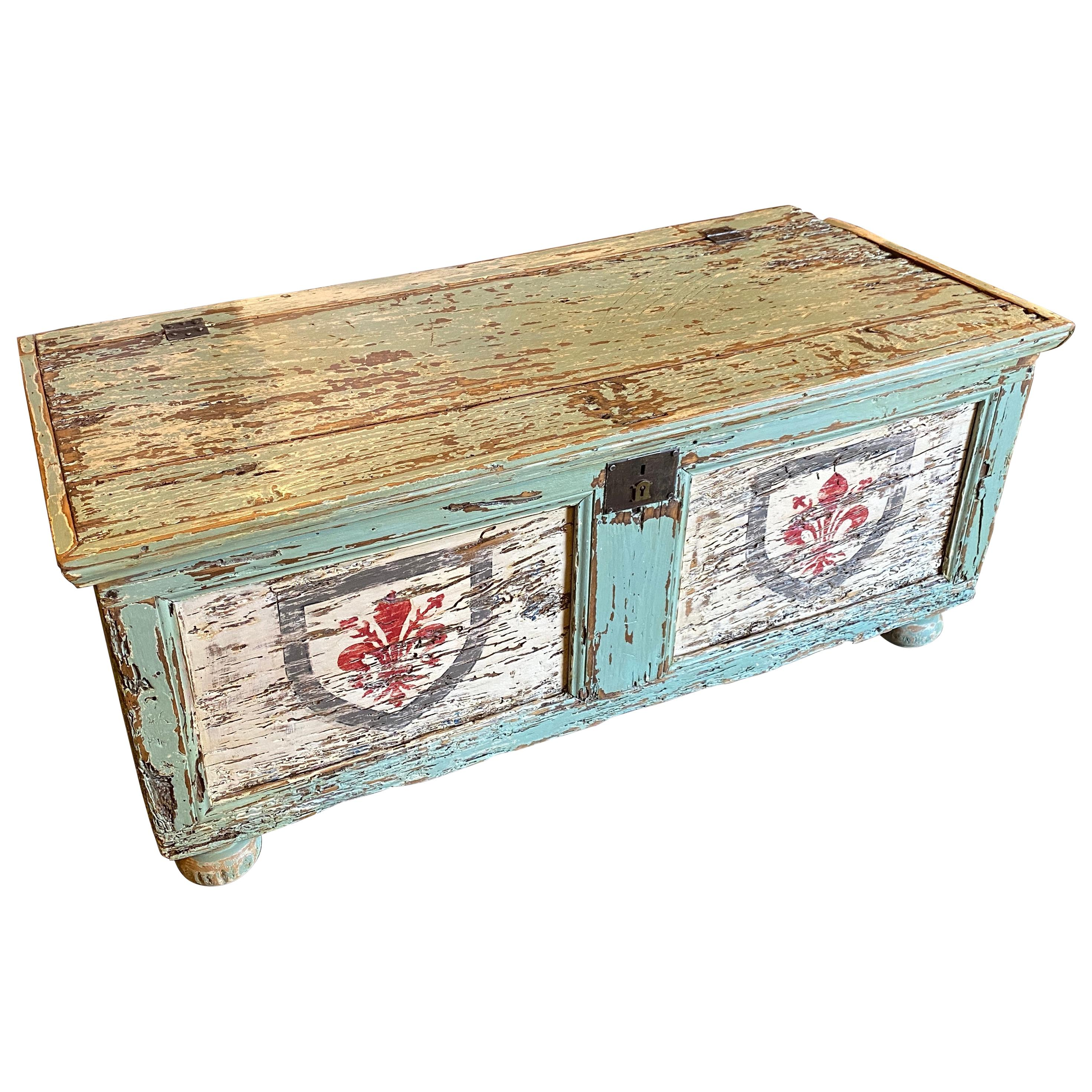 A 19th Century Antique Lacquered Wood Italian Blanket Chest