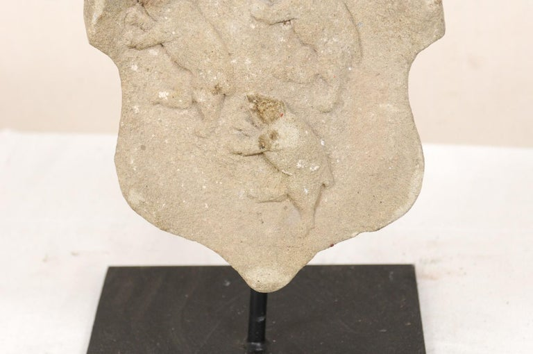 Hand-Carved 19th Century Aragon Stone Marker with Great Patina on Custom Stand, Spain For Sale