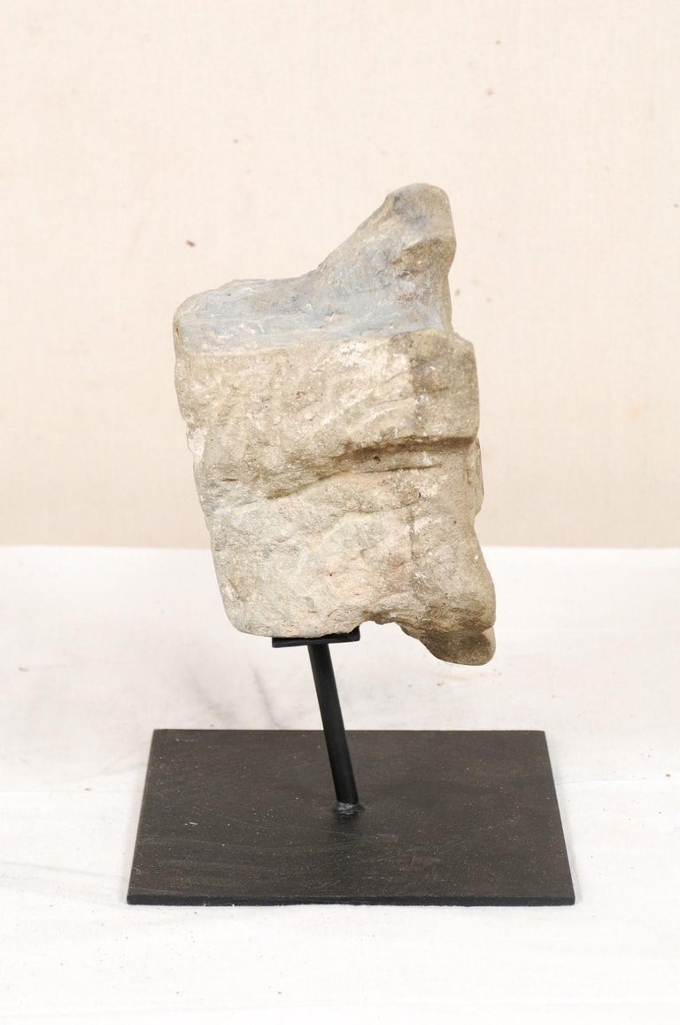 19th Century Aragon Stone Marker with Great Patina on Custom Stand, Spain For Sale 4