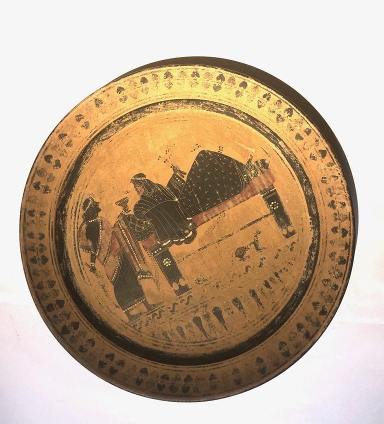 Neoclassical A 19th Century Black Figure Etruscan Archaic Style Grand Tour Plate For Sale