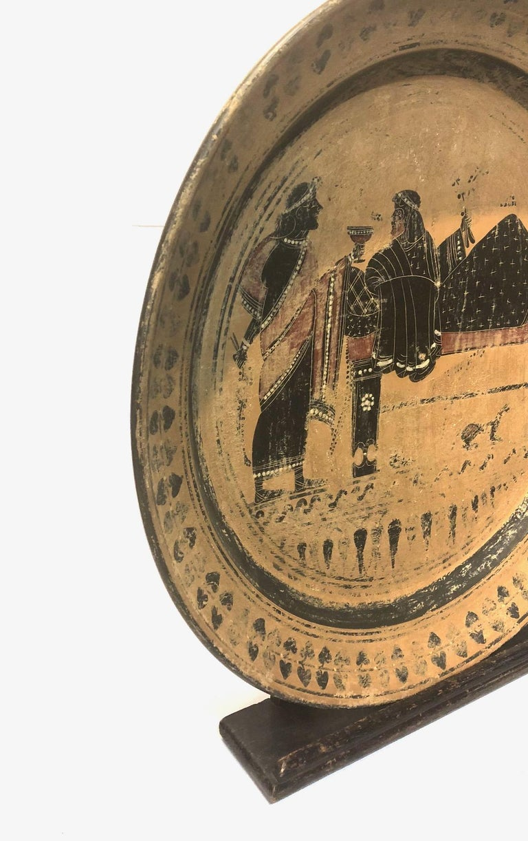 Painted A 19th Century Black Figure Etruscan Archaic Style Grand Tour Plate For Sale