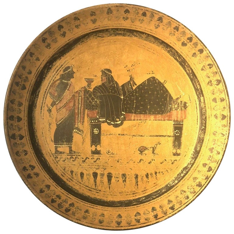 A 19th Century Black Figure Etruscan Archaic Style Grand Tour Plate For Sale