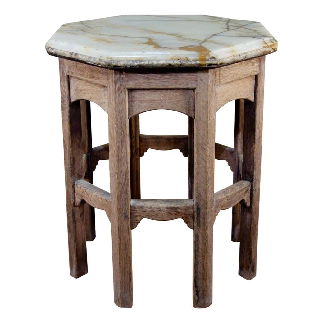 19th Century Bleached Oak Octagonal Side Table, Onyx Top