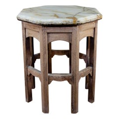 19th Century Bleached Oak Octagonal Side Table, Onyx Top