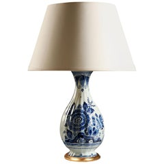 19th Century Blue and White Delft Ceramic Vase as a Table Lamp with Gilt Base
