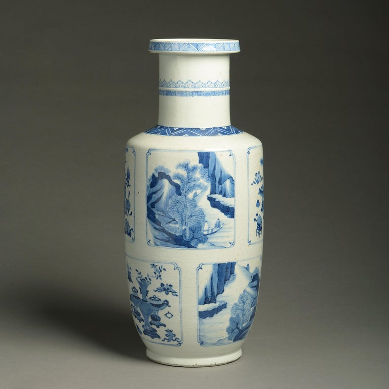 Chinese 19th Century Blue and White Porcelain Rouleau Vase For Sale
