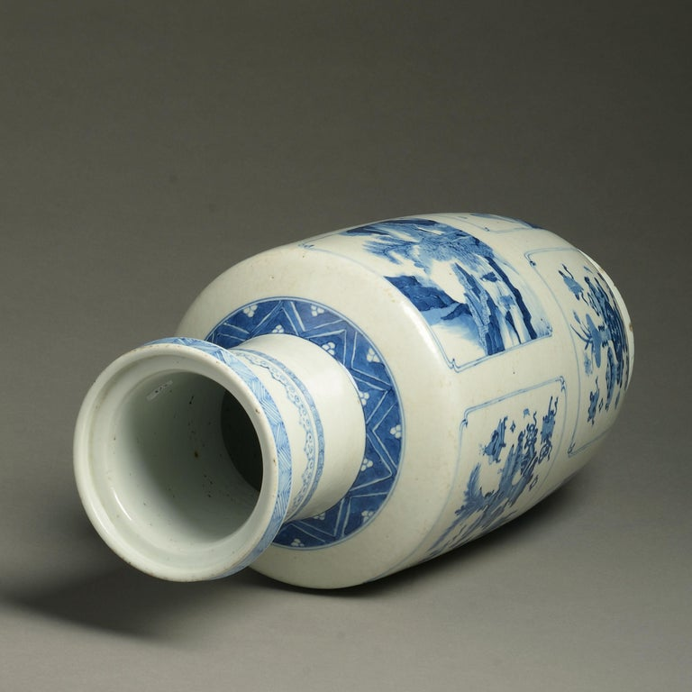Late 19th Century 19th Century Blue and White Porcelain Rouleau Vase For Sale