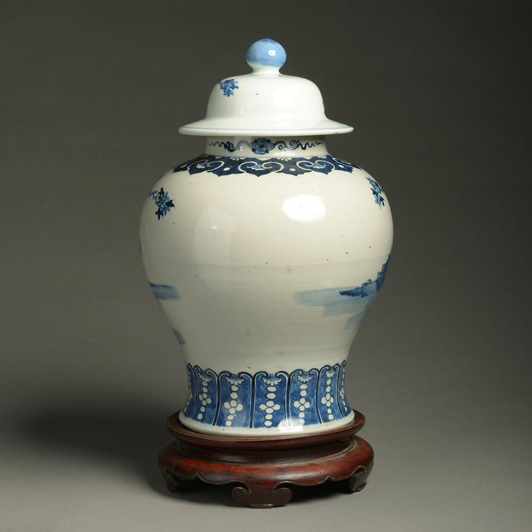 Chinese 19th Century Blue and White Porcelain Vase and Cover For Sale