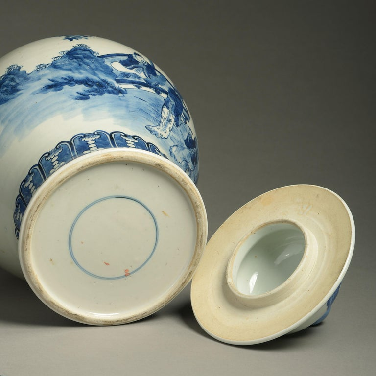 Late 19th Century 19th Century Blue and White Porcelain Vase and Cover For Sale