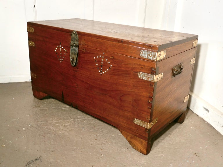 19th Century Brass Bound Campaign Chest, Secret Interior In Good Condition For Sale In Chillerton, Isle of Wight
