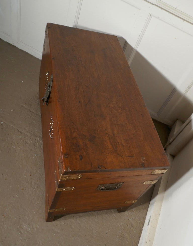 Wood 19th Century Brass Bound Campaign Chest, Secret Interior For Sale