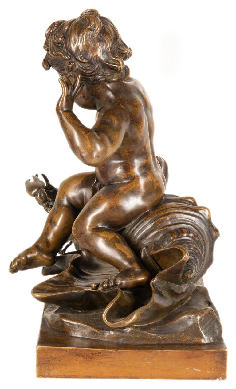 19th Century Bronze Study of a Child Seated on a Shell, Signed Pigale For Sale 6