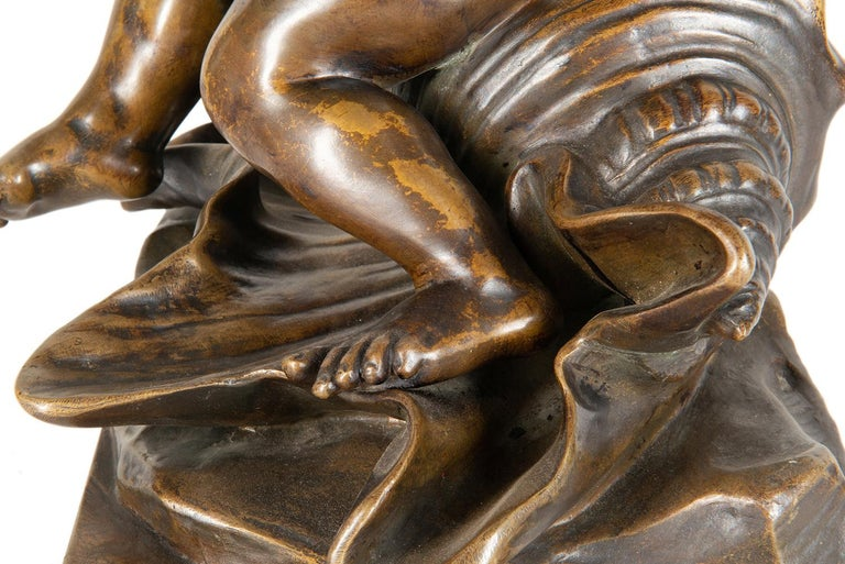 19th Century Bronze Study of a Child Seated on a Shell, Signed Pigale For Sale 7