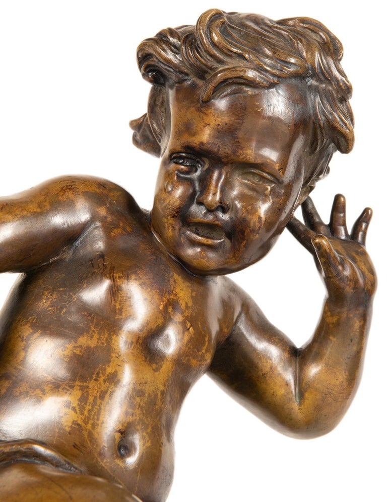 19th Century Bronze Study of a Child Seated on a Shell, Signed Pigale For Sale 1