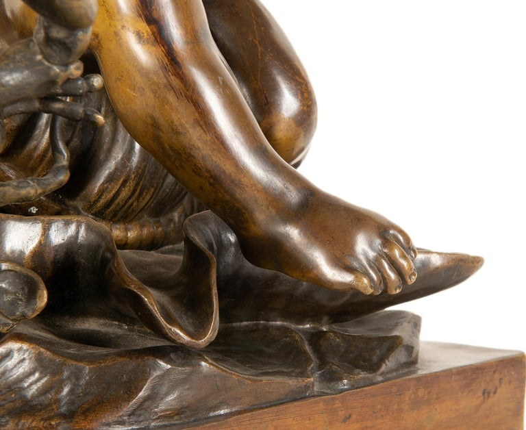 19th Century Bronze Study of a Child Seated on a Shell, Signed Pigale For Sale 2