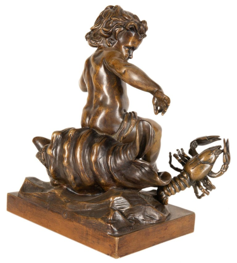 19th Century Bronze Study of a Child Seated on a Shell, Signed Pigale For Sale 3