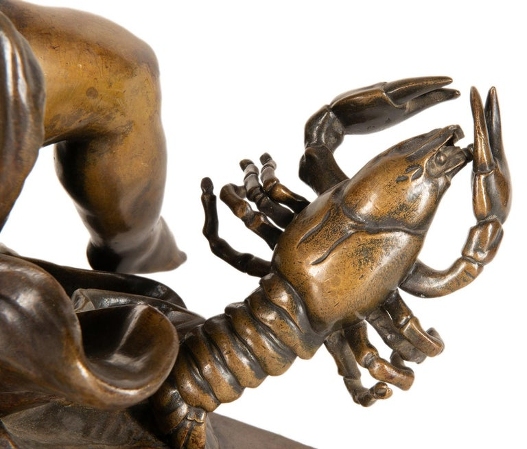 19th Century Bronze Study of a Child Seated on a Shell, Signed Pigale For Sale 4