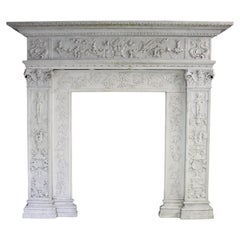 19th Century Carved Carrara Marble Chimneypiece in the Renaissance Style