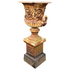 19th Century Cast Iron Garden Urn or Planter on Stand