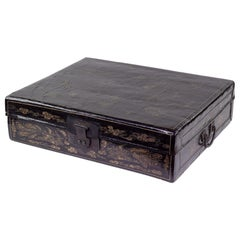 19th Century Chinese Box, Black Lacquered Rectangular Double Handled Box