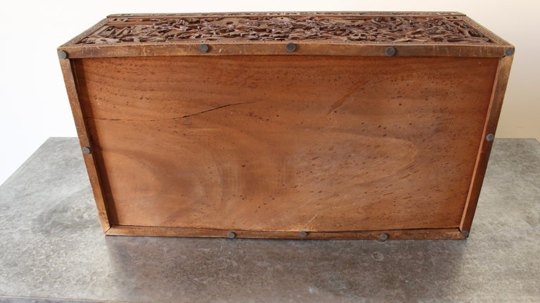 19th Century Chinese Carved Camphor Wood Document Box For Sale 1