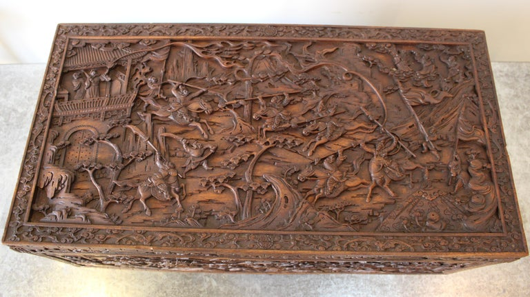 Qing 19th Century Chinese Carved Camphor Wood Document Box For Sale