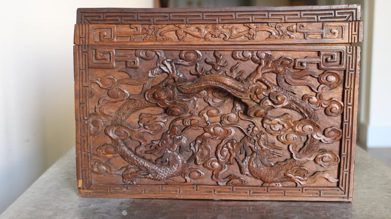 19th Century Chinese Carved Camphor Wood Document Box In Good Condition For Sale In Dallas, TX