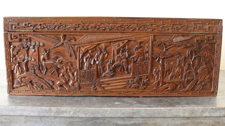 19th Century Chinese Carved Camphor Wood Document Box For Sale 2