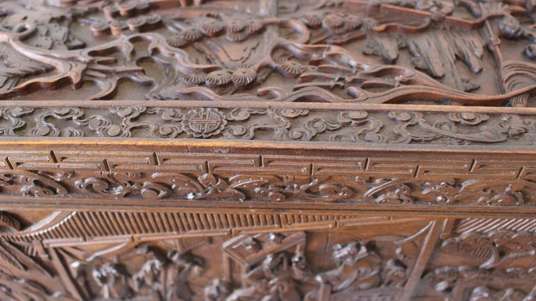 19th Century Chinese Carved Camphor Wood Document Box For Sale 3