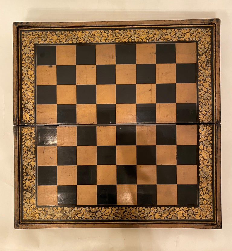 19th Century Chinese Export Lacquer Chess and Backgammon Board For Sale 7