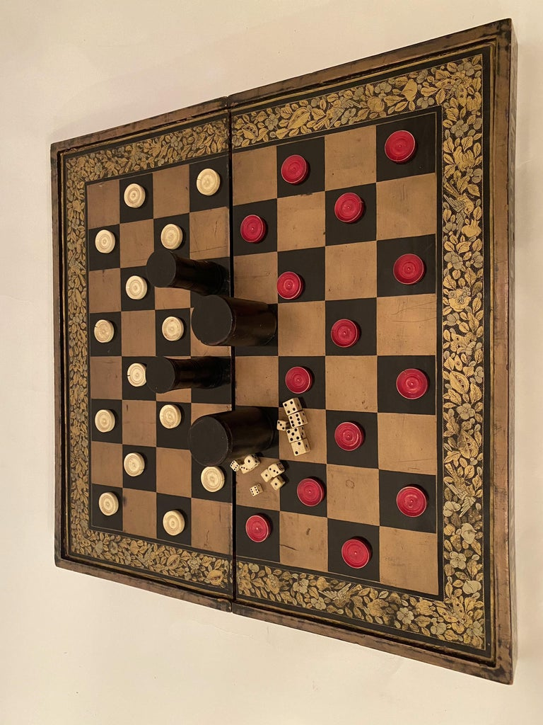 19th Century Chinese Export Lacquer Chess and Backgammon Board For Sale 8