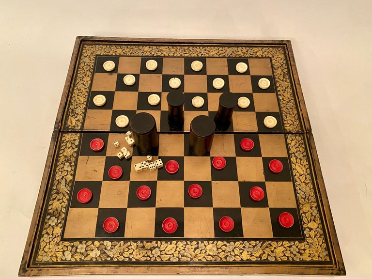 19th Century Chinese Export Lacquer Chess and Backgammon Board For Sale 9