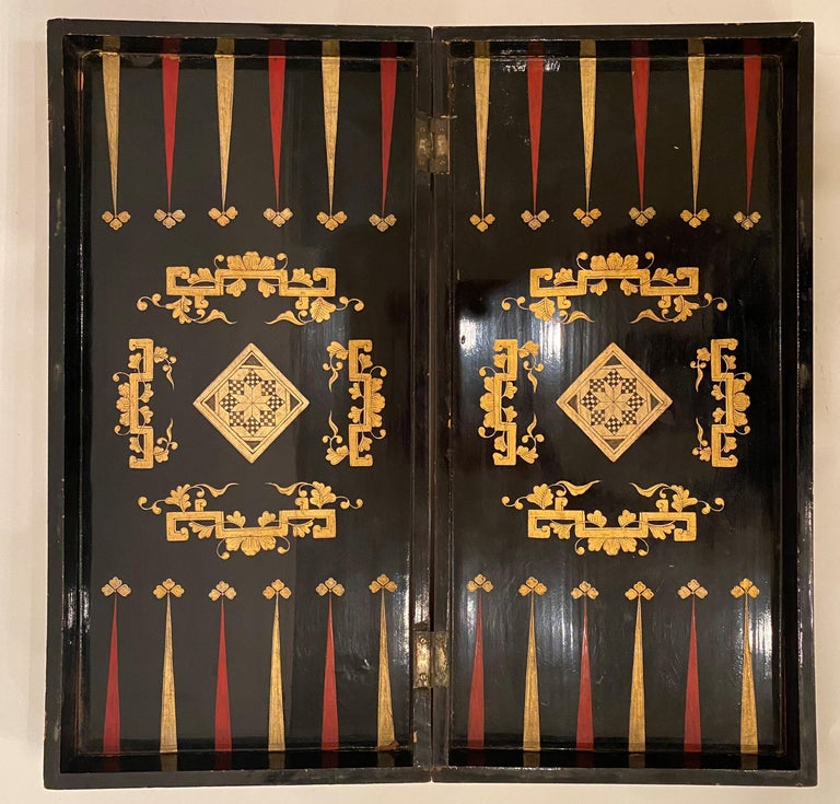 Qing 19th Century Chinese Export Lacquer Chess and Backgammon Board For Sale