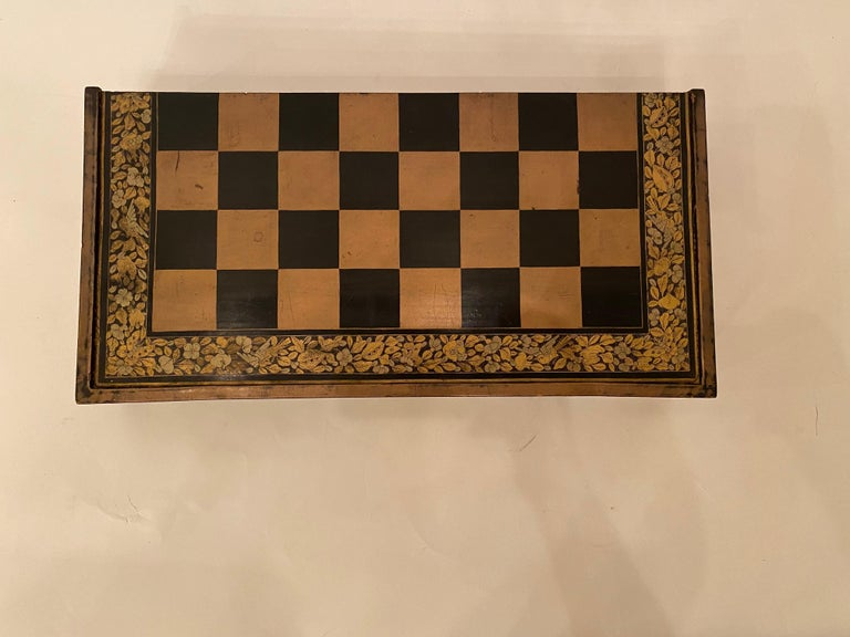 Hand-Carved 19th Century Chinese Export Lacquer Chess and Backgammon Board For Sale