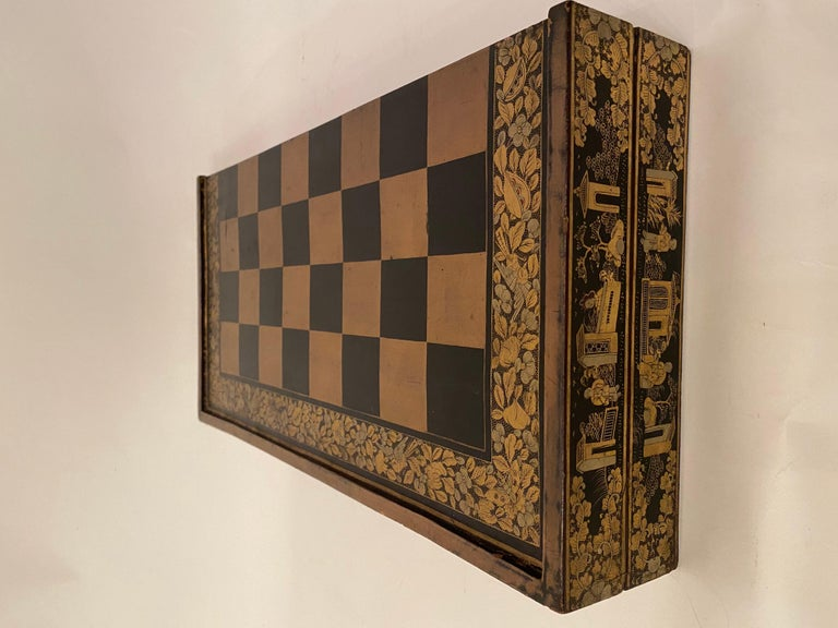 19th Century Chinese Export Lacquer Chess and Backgammon Board For Sale 1