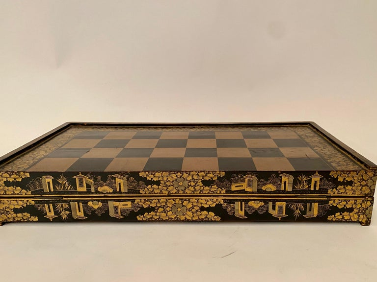 19th Century Chinese Export Lacquer Chess and Backgammon Board For Sale 2