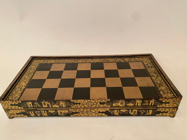 19th Century Chinese Export Lacquer Chess and Backgammon Board For Sale 3