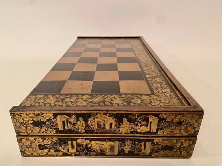 19th Century Chinese Export Lacquer Chess and Backgammon Board For Sale 4