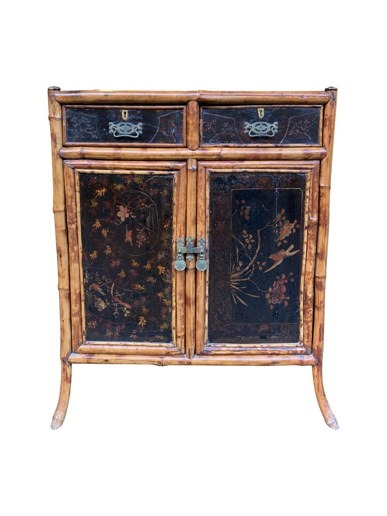 19th Century Chinoiserie Painted Bamboo Cabinet with Two Drawers and Two Doors For Sale 7