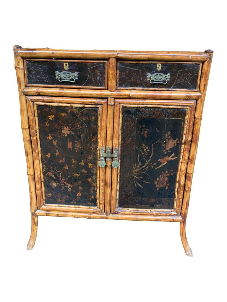 19th Century Chinoiserie Painted Bamboo Cabinet with Two Drawers and Two Doors For Sale 8