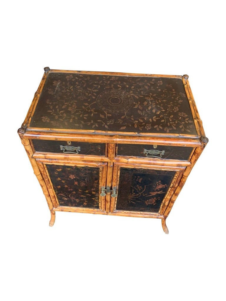 19th Century Chinoiserie Painted Bamboo Cabinet with Two Drawers and Two Doors For Sale 9
