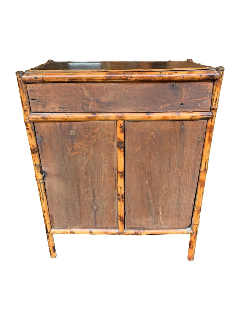19th Century Chinoiserie Painted Bamboo Cabinet with Two Drawers and Two Doors For Sale 14