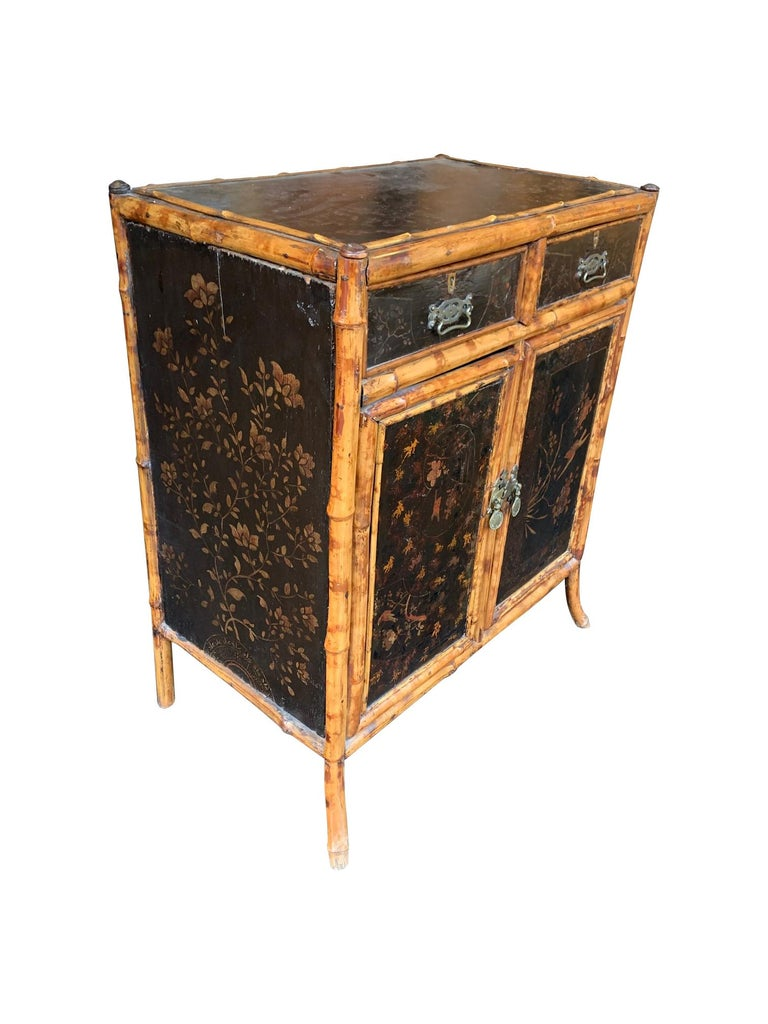 British 19th Century Chinoiserie Painted Bamboo Cabinet with Two Drawers and Two Doors For Sale