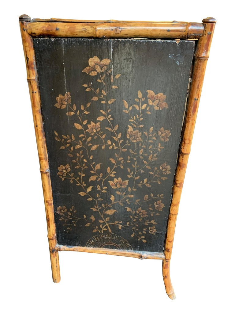 19th Century Chinoiserie Painted Bamboo Cabinet with Two Drawers and Two Doors In Good Condition For Sale In London, GB