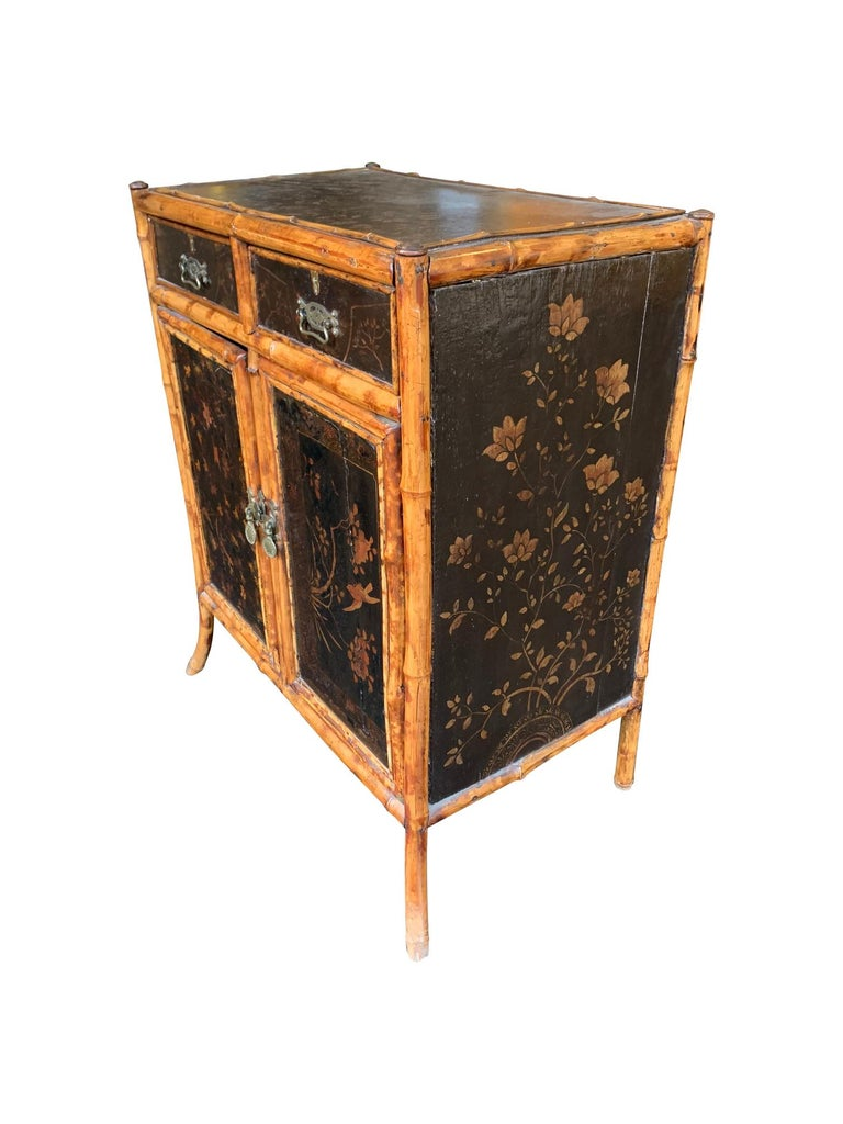 Late 19th Century 19th Century Chinoiserie Painted Bamboo Cabinet with Two Drawers and Two Doors For Sale