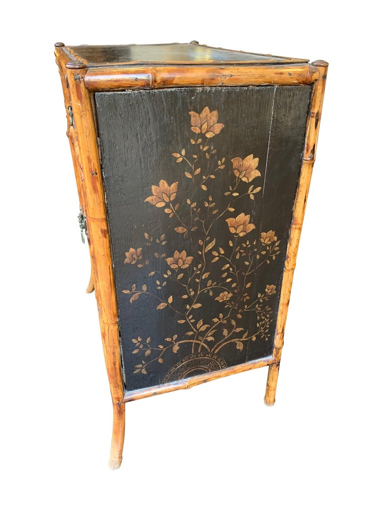 19th Century Chinoiserie Painted Bamboo Cabinet with Two Drawers and Two Doors For Sale 1