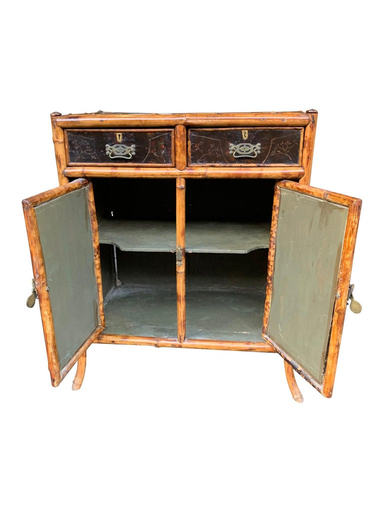 19th Century Chinoiserie Painted Bamboo Cabinet with Two Drawers and Two Doors For Sale 3