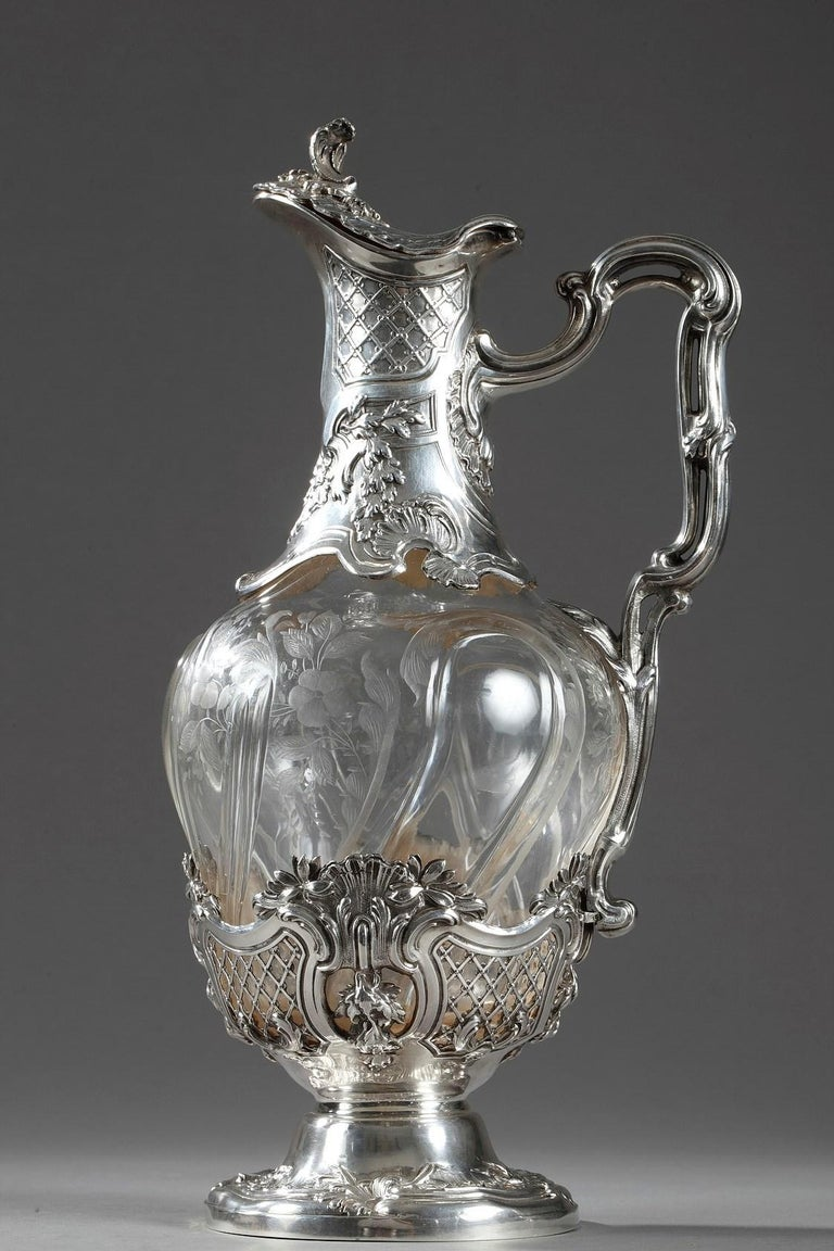 19th Century Crystal Silver Mounted Ewer, Edouard Ernie, circa 1880 For Sale 3