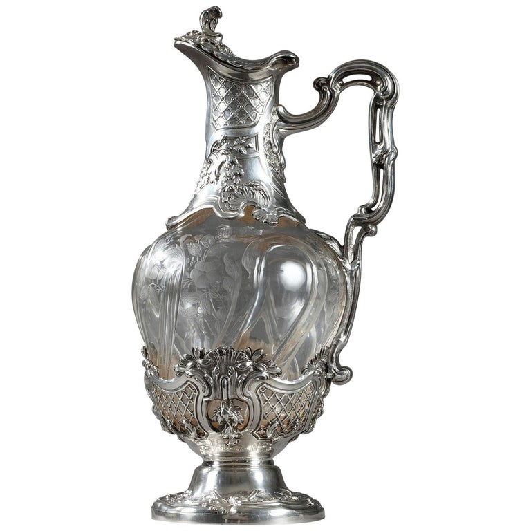 19th Century Crystal Silver Mounted Ewer, Edouard Ernie, circa 1880 For Sale